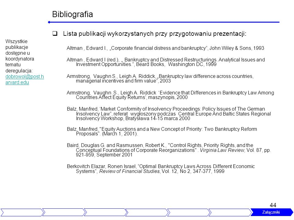 Bibliografia Lista publikacji wykorzystanych przy przygotowaniu prezentacji: