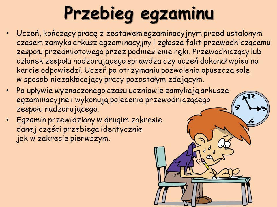 Przebieg egzaminu