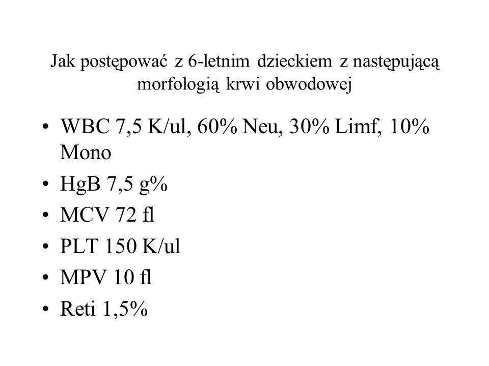 WBC 7,5 K/ul, 60% Neu, 30% Limf, 10% Mono HgB 7,5 g% MCV 72 fl