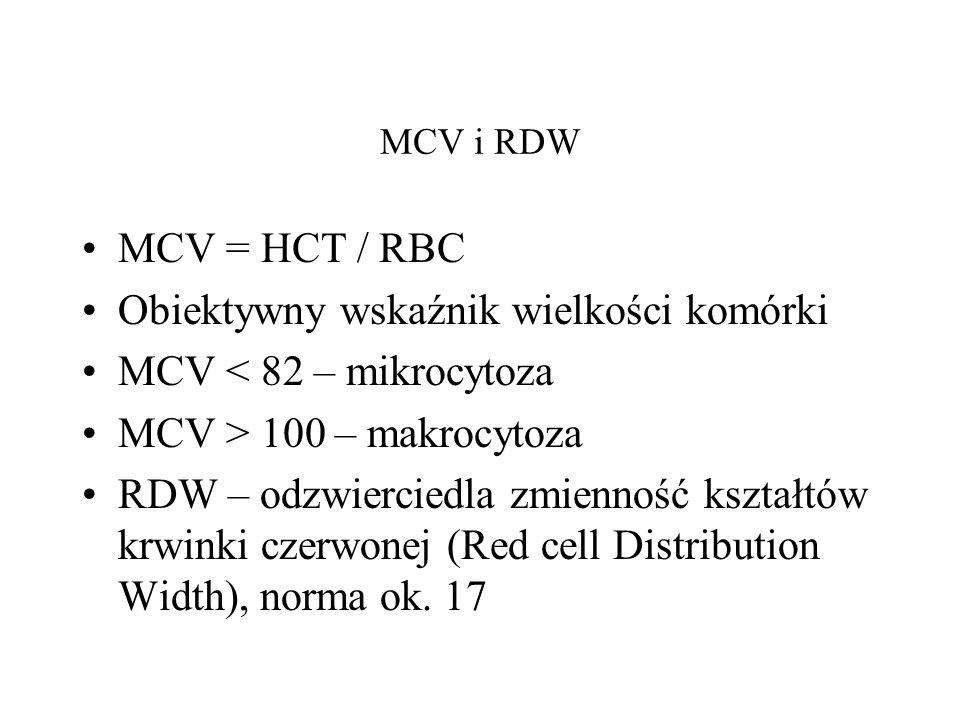 Obiektywny wskaźnik wielkości komórki MCV < 82 – mikrocytoza