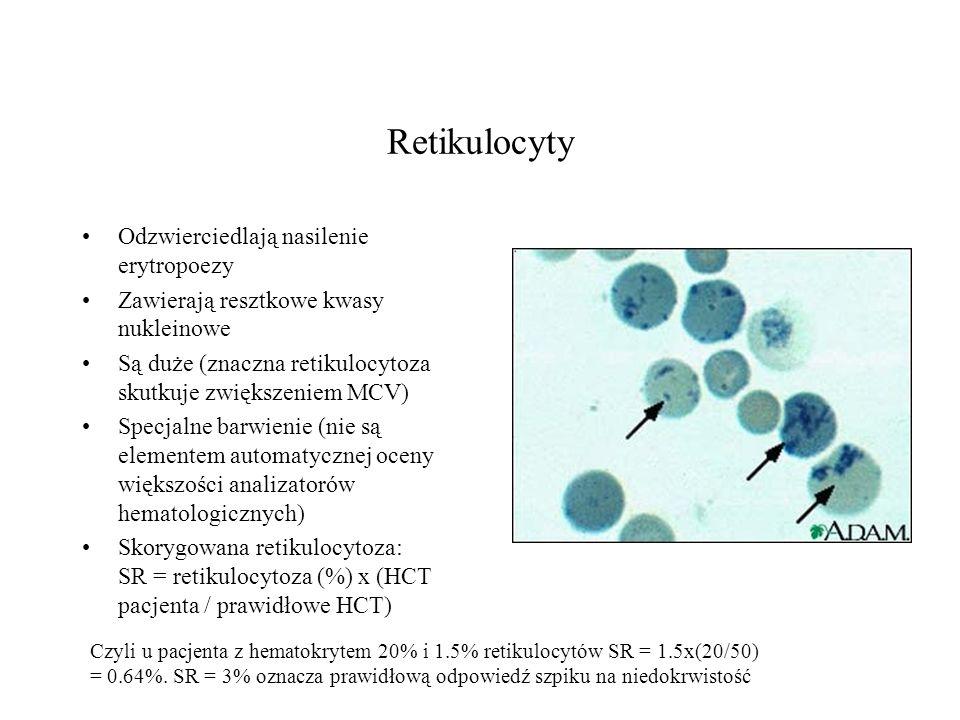Retikulocyty Odzwierciedlają nasilenie erytropoezy