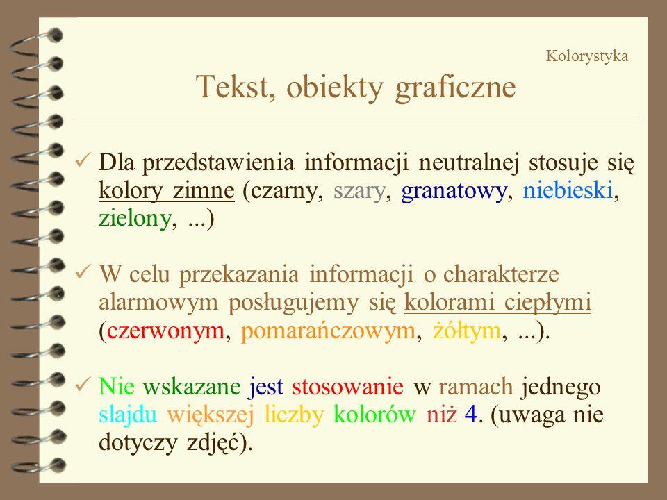 Kolorystyka Tekst, obiekty graficzne