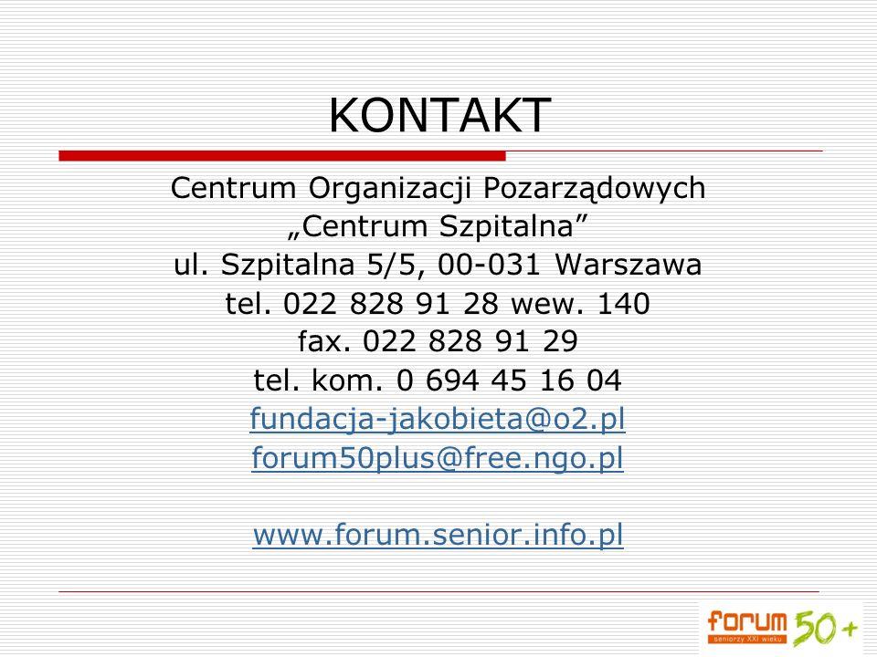 """KONTAKT Centrum Organizacji Pozarządowych """"Centrum Szpitalna"""