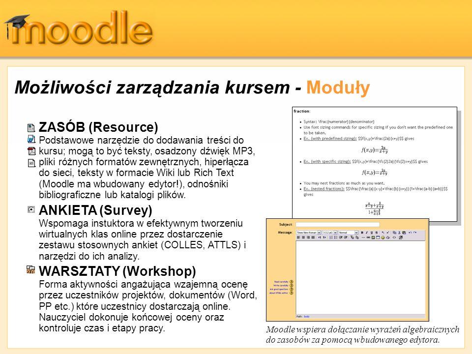 Możliwości zarządzania kursem - Moduły