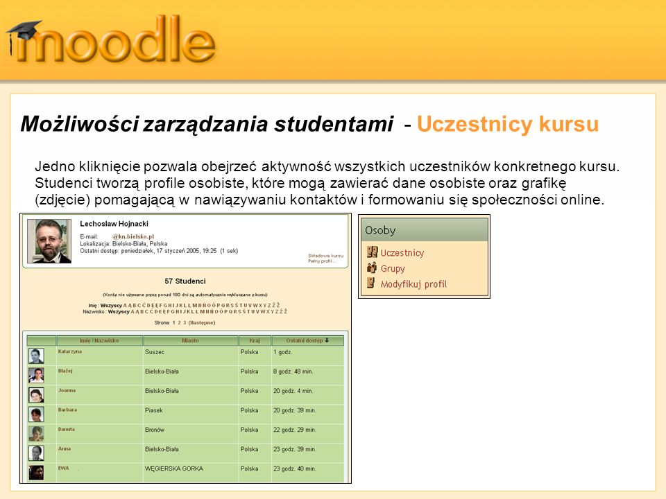 Możliwości zarządzania studentami - Uczestnicy kursu