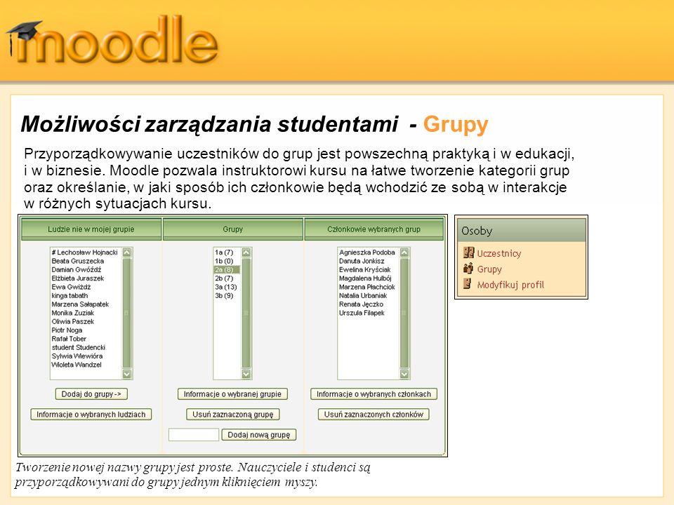 Możliwości zarządzania studentami - Grupy