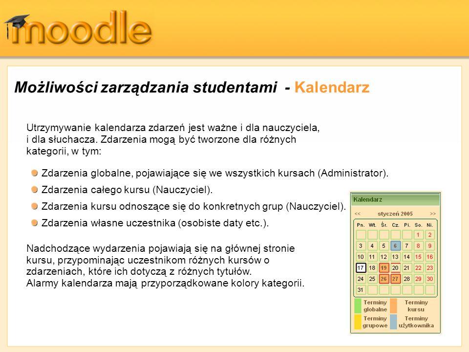 Możliwości zarządzania studentami - Kalendarz