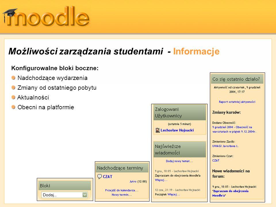 Możliwości zarządzania studentami - Informacje