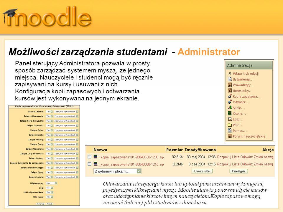 Możliwości zarządzania studentami - Administrator
