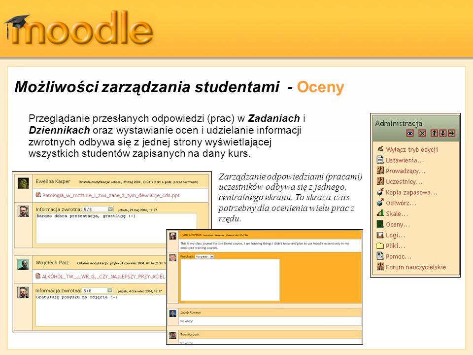 Możliwości zarządzania studentami - Oceny