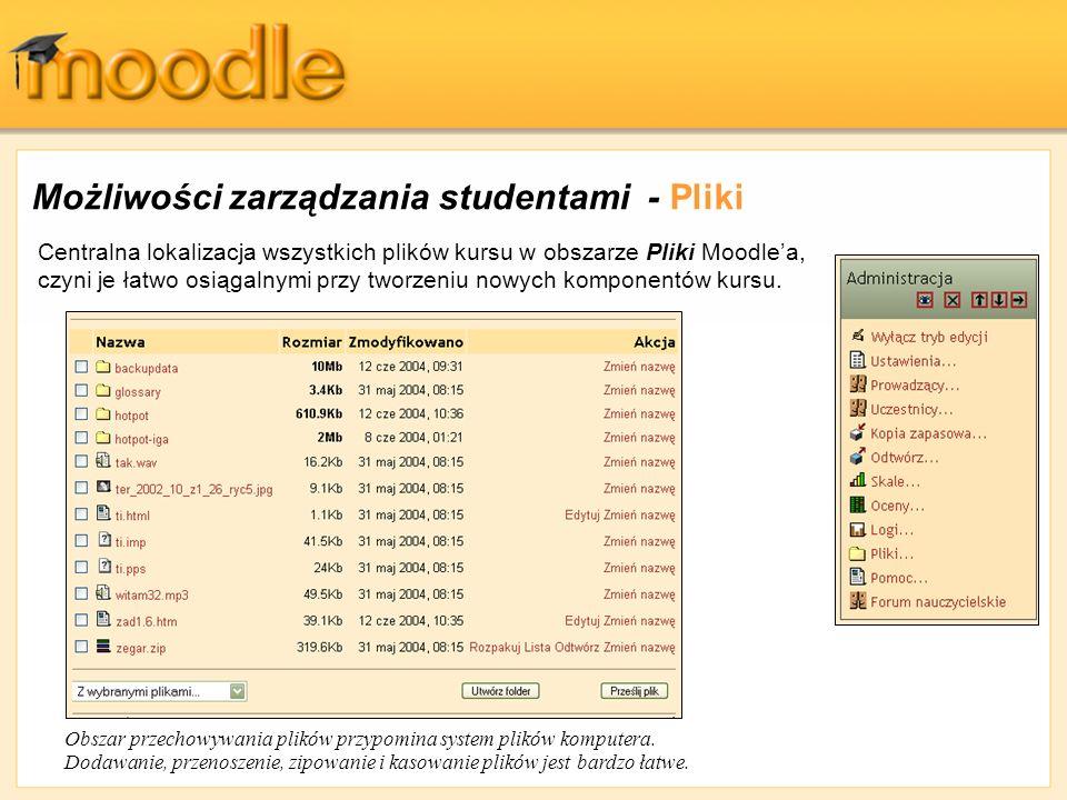 Możliwości zarządzania studentami - Pliki