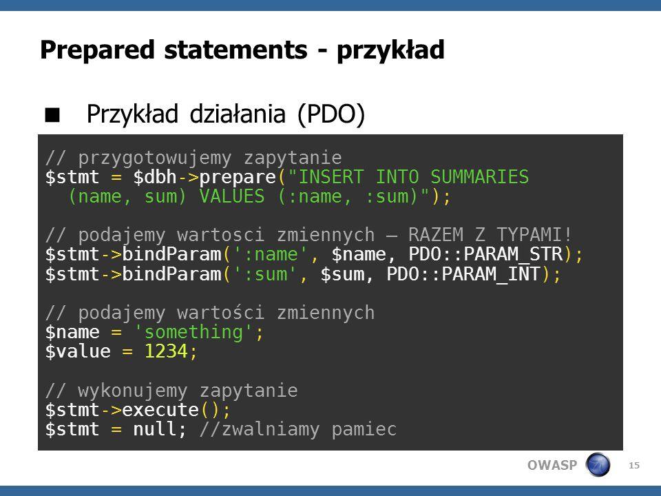 Prepared statements - przykład