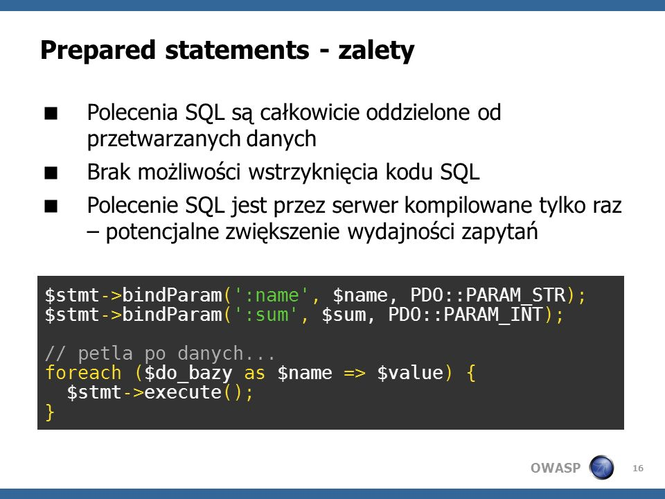 Prepared statements - zalety