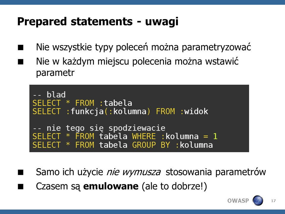 Prepared statements - uwagi