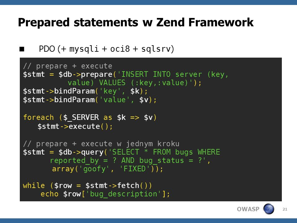 Prepared statements w Zend Framework
