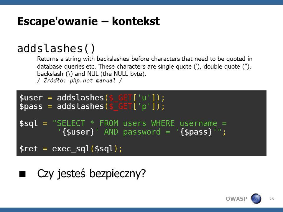 Escape owanie – kontekst