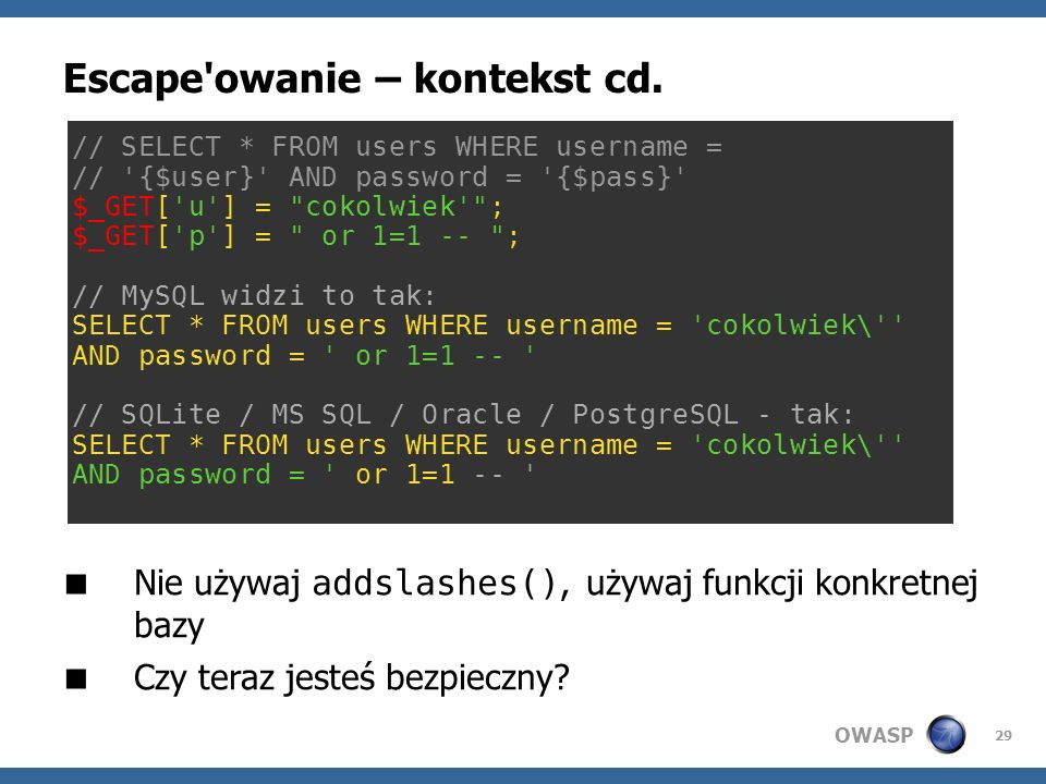 Escape owanie – kontekst cd.