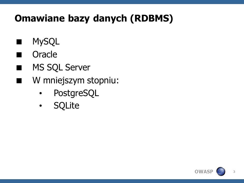 Omawiane bazy danych (RDBMS)