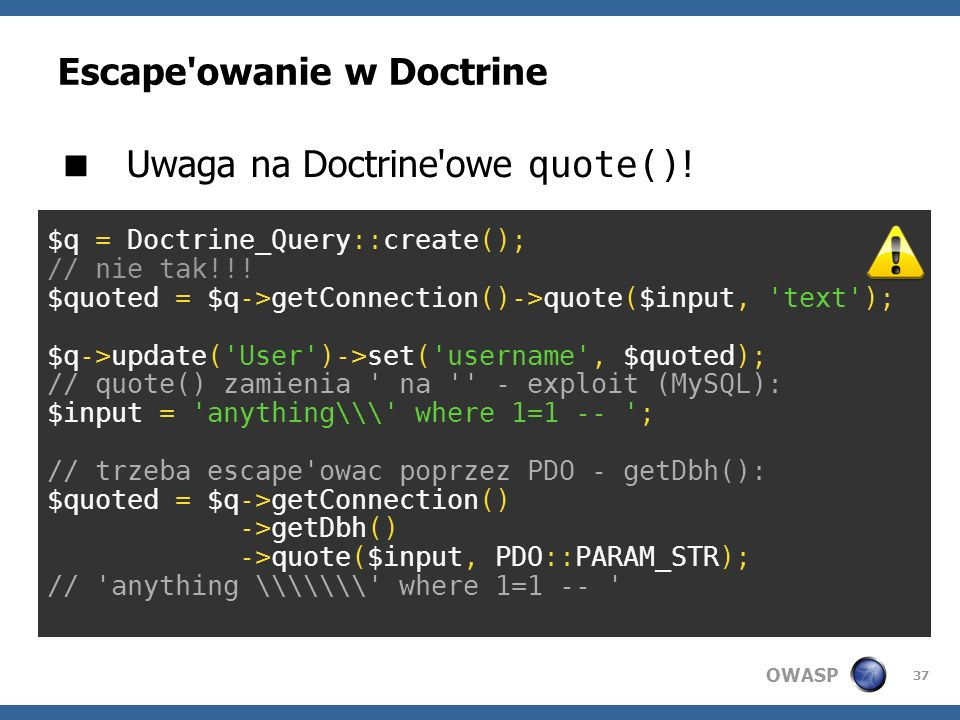 Escape owanie w Doctrine