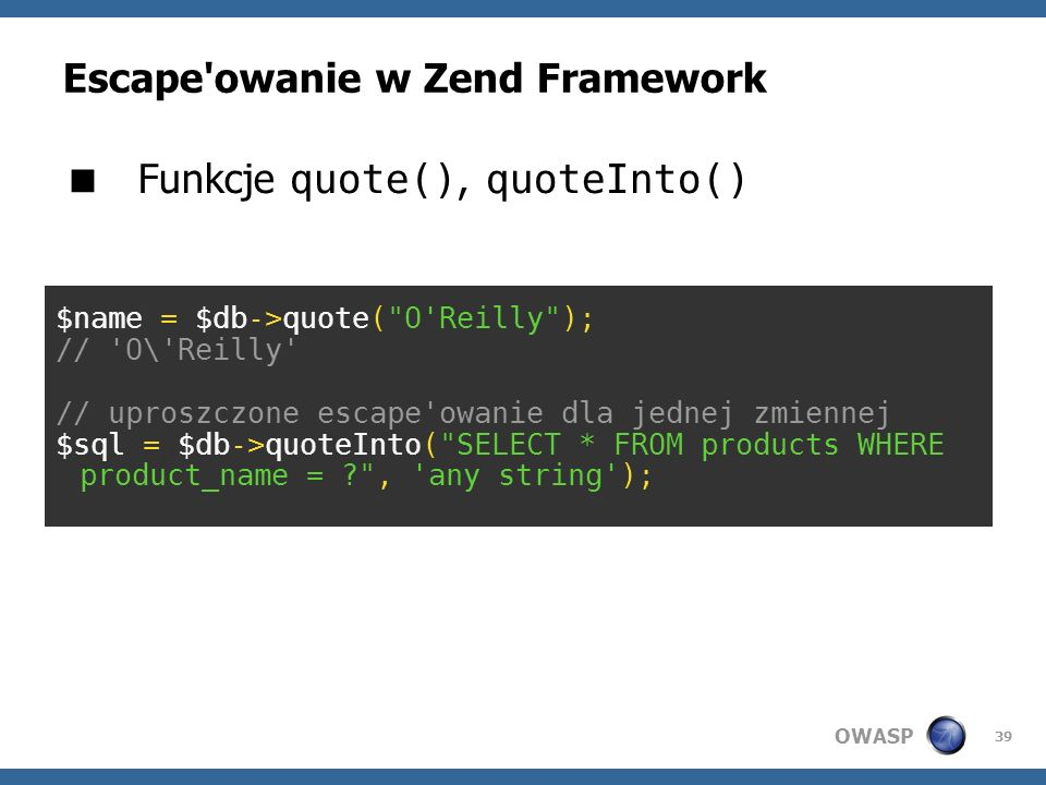 Escape owanie w Zend Framework