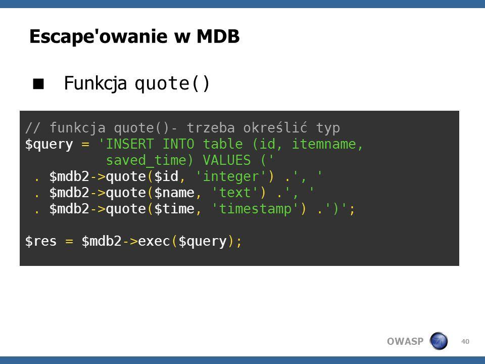 Escape owanie w MDB Funkcja quote()