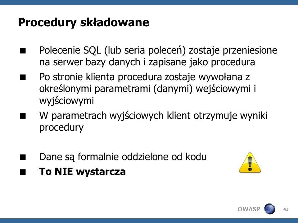 Procedury składowane Polecenie SQL (lub seria poleceń) zostaje przeniesione na serwer bazy danych i zapisane jako procedura.