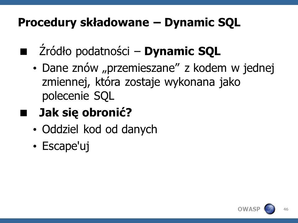 Procedury składowane – Dynamic SQL