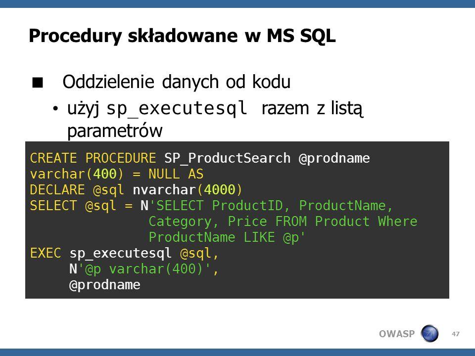 Procedury składowane w MS SQL