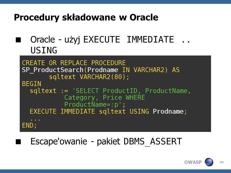 Procedury składowane w Oracle