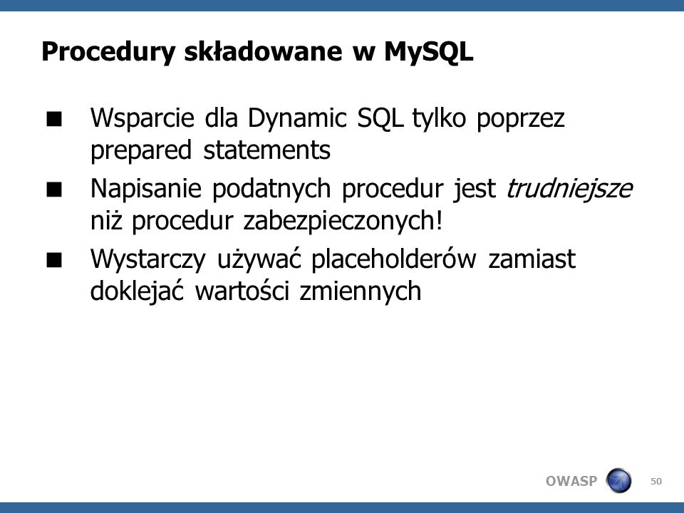 Procedury składowane w MySQL