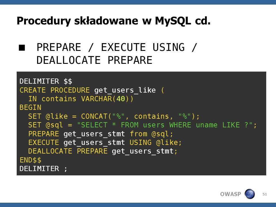 Procedury składowane w MySQL cd.