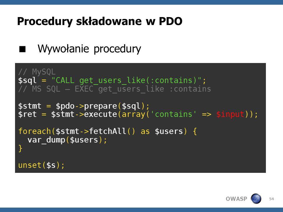 Procedury składowane w PDO