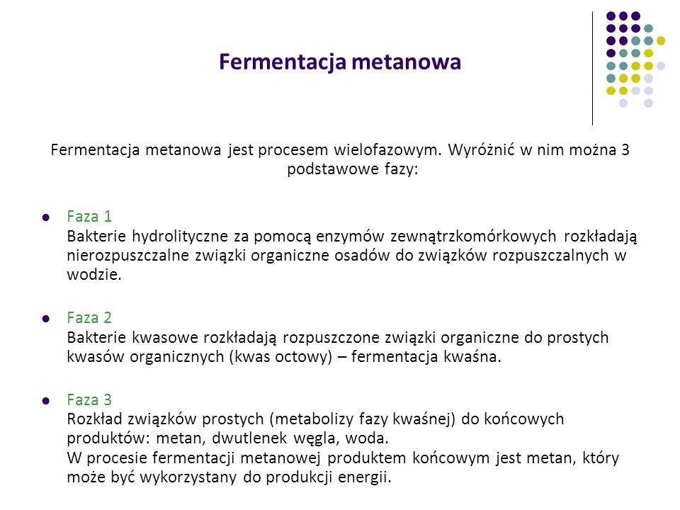 Fermentacja metanowaFermentacja metanowa jest procesem wielofazowym. Wyróżnić w nim można 3 podstawowe fazy:
