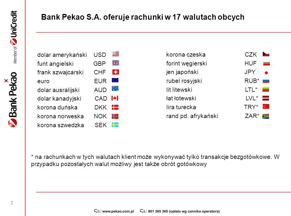 Bank Pekao S.A. oferuje rachunki w 17 walutach obcych