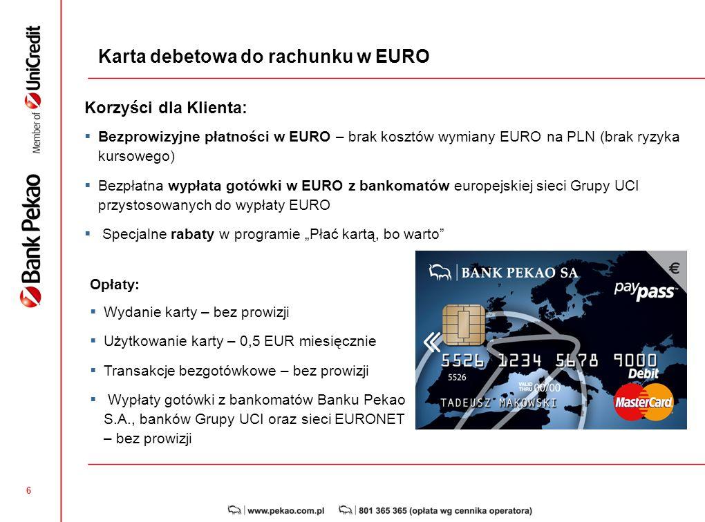 Karta debetowa do rachunku w EURO
