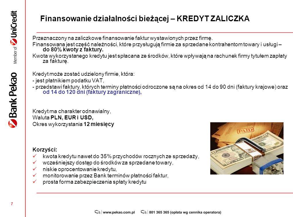 Finansowanie działalności bieżącej – KREDYT ZALICZKA
