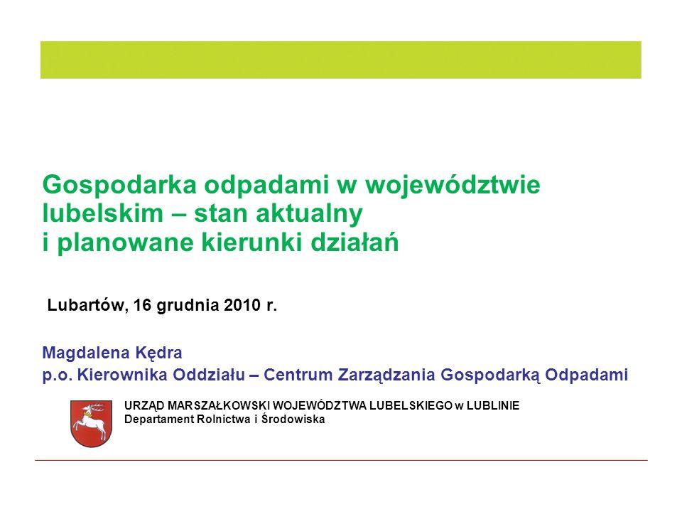 Gospodarka odpadami w województwie lubelskim – stan aktualny i planowane kierunki działań