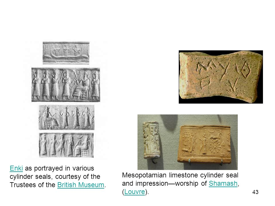 Enki as portrayed in various cylinder seals, courtesy of the Trustees of the British Museum.