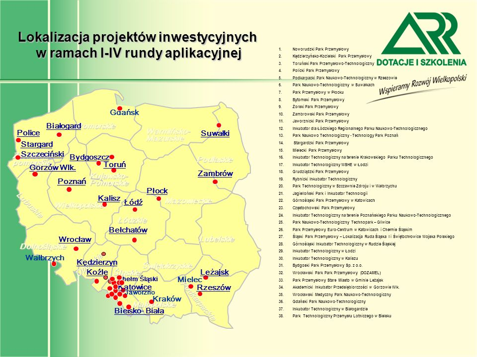 Lokalizacja projektów inwestycyjnych w ramach I-IV rundy aplikacyjnej