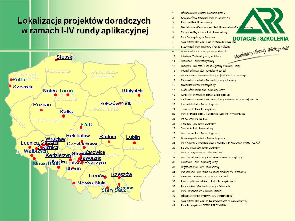 Lokalizacja projektów doradczych w ramach I-IV rundy aplikacyjnej