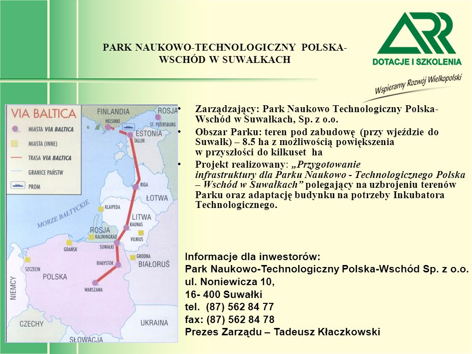 PARK NAUKOWO-TECHNOLOGICZNY POLSKA-WSCHÓD W SUWAŁKACH