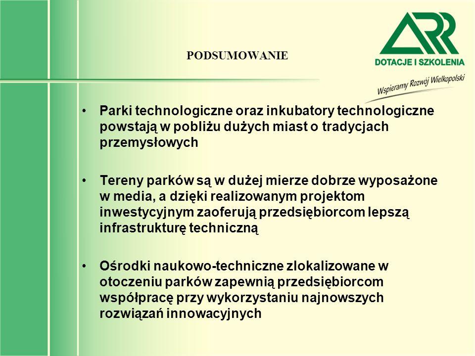 PODSUMOWANIE Parki technologiczne oraz inkubatory technologiczne powstają w pobliżu dużych miast o tradycjach przemysłowych.