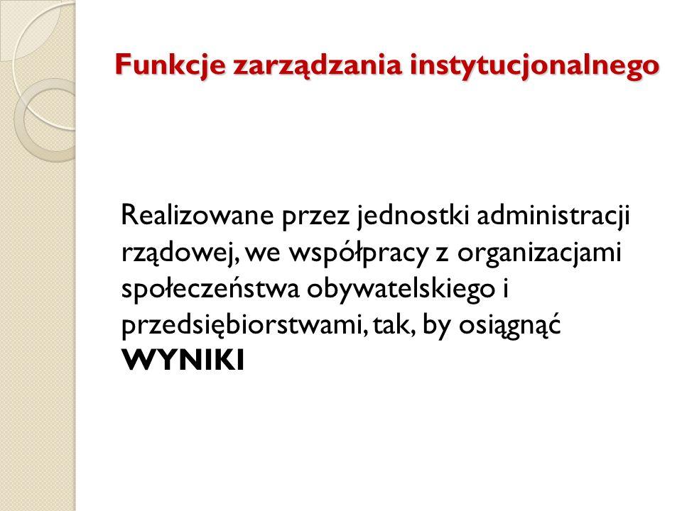Funkcje zarządzania instytucjonalnego