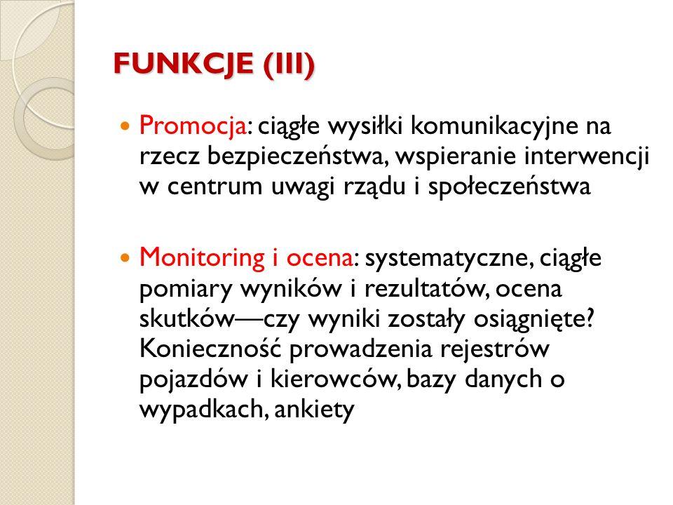 FUNKCJE (III) Promocja: ciągłe wysiłki komunikacyjne na rzecz bezpieczeństwa, wspieranie interwencji w centrum uwagi rządu i społeczeństwa.