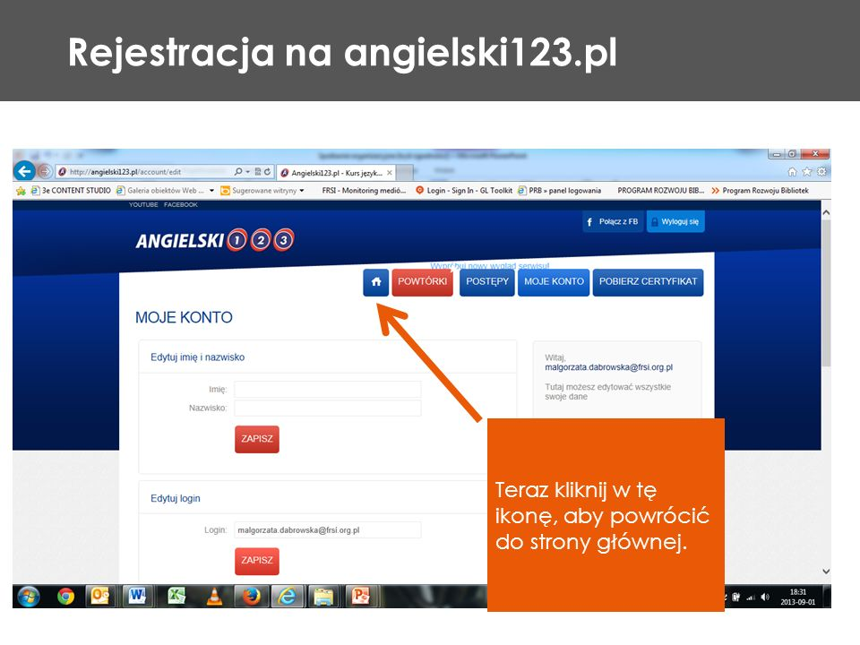 Rejestracja na angielski123.pl