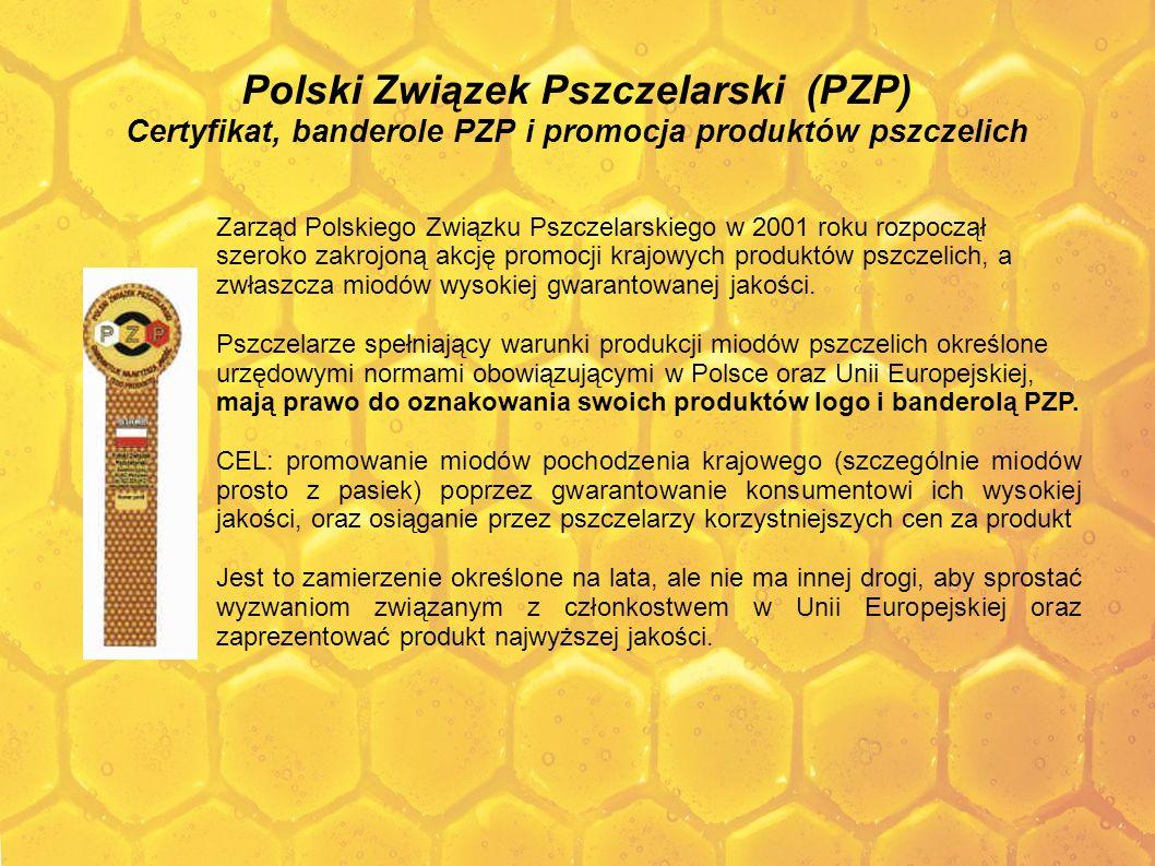 Polski Związek Pszczelarski (PZP) Certyfikat, banderole PZP i promocja produktów pszczelich