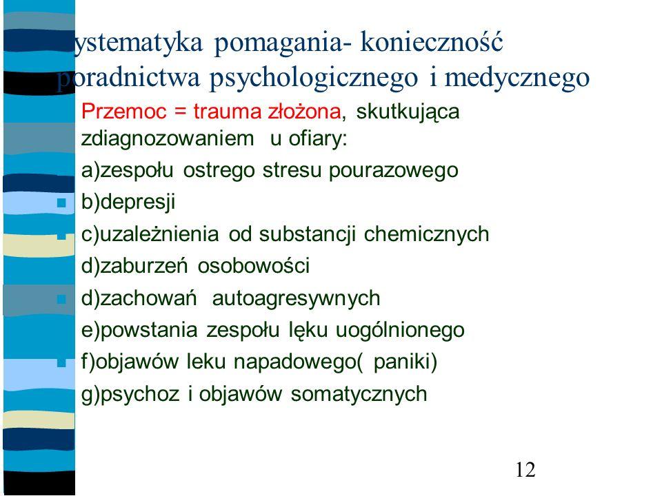 Systematyka pomagania- konieczność poradnictwa psychologicznego i medycznego