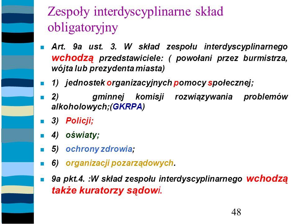 Zespoły interdyscyplinarne skład obligatoryjny