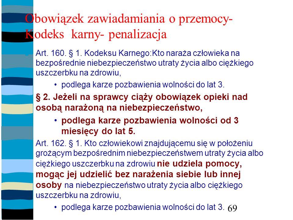 Obowiązek zawiadamiania o przemocy- Kodeks karny- penalizacja