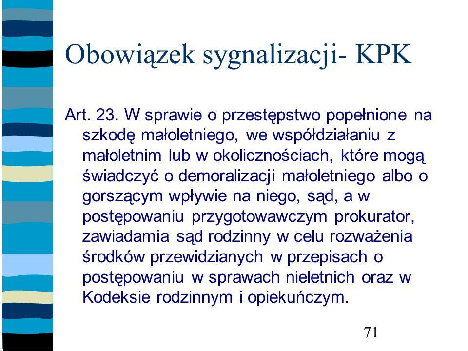 Obowiązek sygnalizacji- KPK